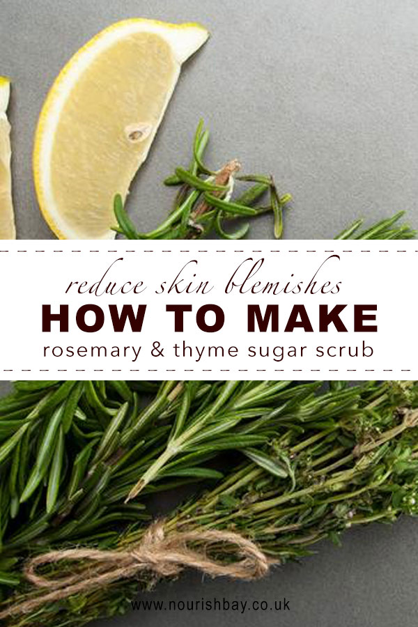 Thyme has a lot of antiseptic qualities and rosemary can reduce blemishes and boost healthy skin glow. If your skin needs a healing tender loving care this is the scrub for you.