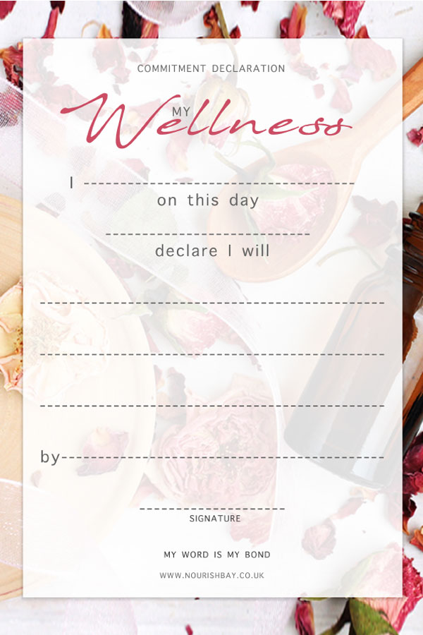Wellness means health. Taking care of your self is a priority. Sign the declaration and pin up for a daily reminder